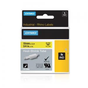Etichete tub termocontractibil, DYMO ID1, 19mm x 1.5m, negru/galben, 180581