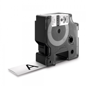 Etichete tub termocontractibil, DYMO ID1, 24mm x 1.5m, negru/alb, 18054430