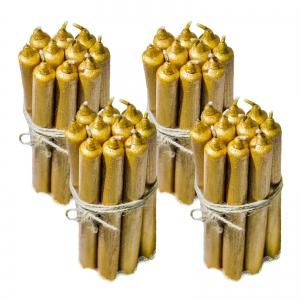 4 Seturi Lumanari Aurii de 10 buc, drepte 2,2*22cm1