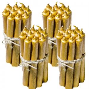 4 Seturi Lumanari Aurii de 10 buc, drepte 2,2*22cm0