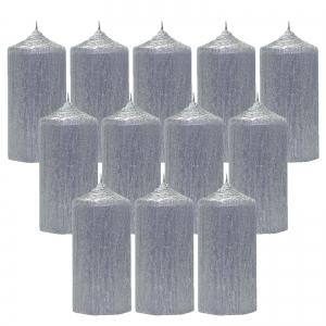 Bax 12 Lumanari Argintii, cilindru 13 cm0