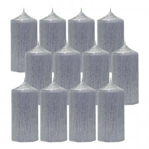 Bax 12 Lumanari Argintii, cilindru 13 cm1