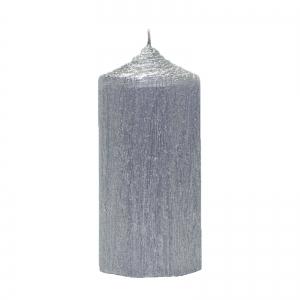Set 4 Lumanari Argintii, cilindru 13 cm2