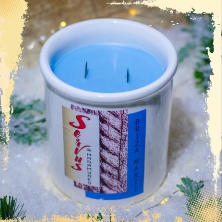 Lumanare Parfumata BRIZA MARII, cu 2 fitile din lemn1