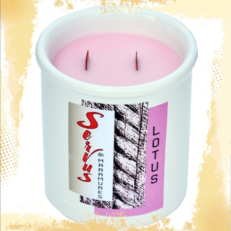 Lumanare Parfumata LOTUS, cu 2 fitile din lemn1