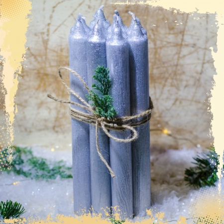 Set 10 Lumanari Argintii, drepte 2,2*22 cm1