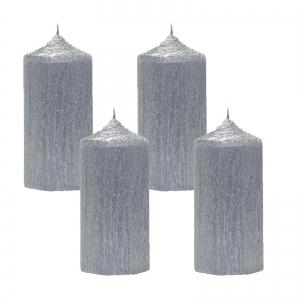 Set 4 Lumanari Argintii, cilindru 13 cm1