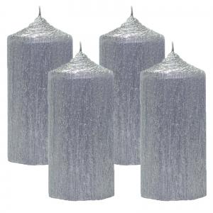 Set 4 Lumanari Argintii, cilindru 13 cm0