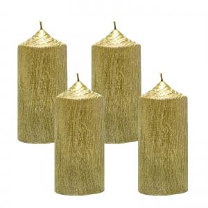 Set 4 Lumanari Aurii, cilindru 13 cm1