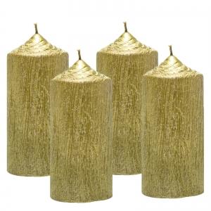 Set 4 Lumanari Aurii, cilindru 13 cm0
