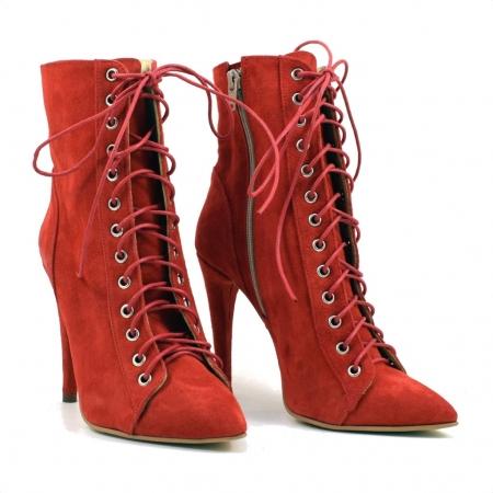 Ghete dama rosii cu toc de 10 cm Sabrina