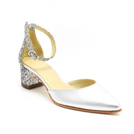 Pantofi din piele argintie si glitter Argento
