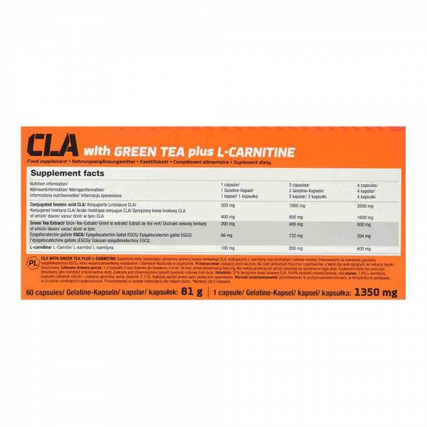 CLA with Green Tea plus L-Carnitine Sport Edition, Olimp, 60 caps 1