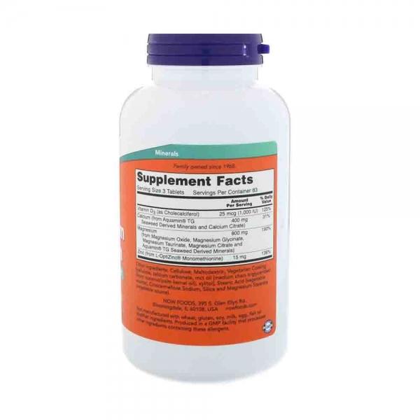 Magneziu Calciu Zinc si vit D, Now Foods, 250 tablete 1