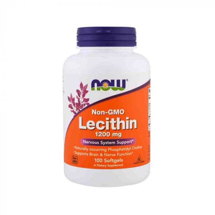 Lecitina (Lecithin) 1200mg, Now Foods, 100 softgels 0