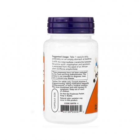 5-HTP, (Precursor Serotonina) , 50 mg ,Now Foods, 30 capsule1