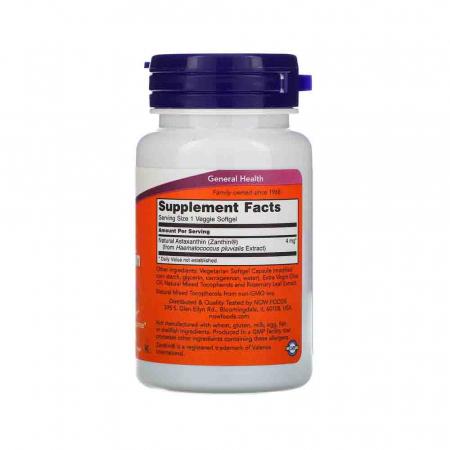 Astaxanthin, (Antioxidant) , 4 mg,Astaxantina Now Foods, 60 softgels1