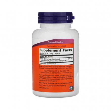 DMAE (Dimetiletanolamină), 250mg, Now Foods, 100 capsule1