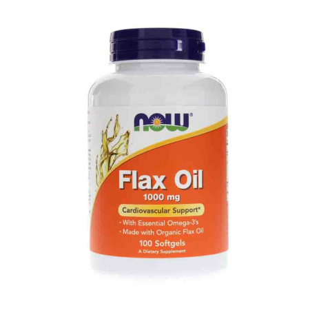Flax Oil Organic (Ulei din seminte de in), 1000mg, Now Foods, 100 softgels0