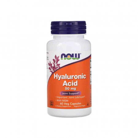 Acid Hialuronic, Hyaluronic Acid cu MSM, 50mg, Now Foods, 60 capsule0