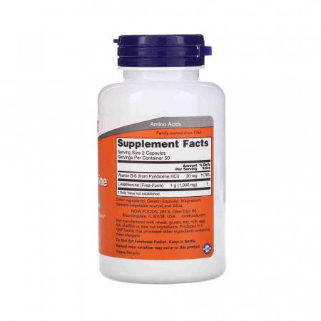 L-Methionine (L-Metionina) 500mg, Now Foods, 100 capsule2