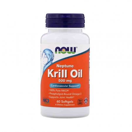 Krill Oil Neptune (Ulei Krill) NKO®, 500mg, Now Foods, 60 softgels0