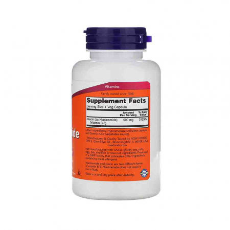 Niacinamide Vitamina B3 (Niacina) 500mg, Now Foods, 100 capsule2