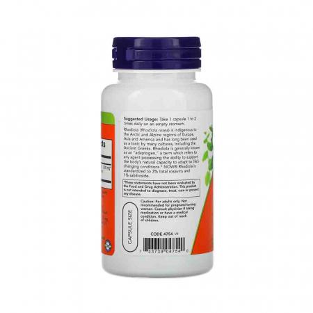 Rhodiola Rosea, 500mg, Now Foods, 60 capsule2