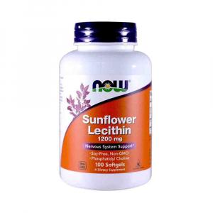 Sunflower Lecithin 1200mg (Lecitina din Floarea Soarelui), Now Foods, 100 softgels0