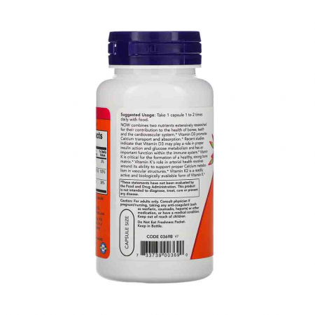 Vitamina D-3 & K-2. Now Foods, 120 capsule2