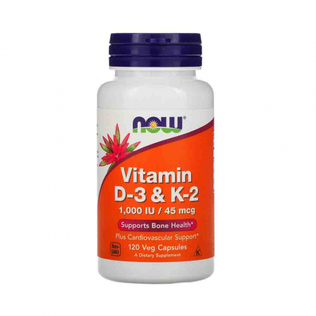 Vitamina D-3 & K-2. Now Foods, 120 capsule0