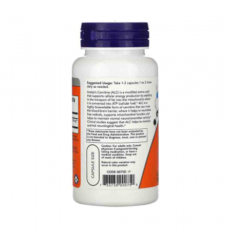 Acetyl L-Carnitine, 500mg, Now Foods, 50 capsule1