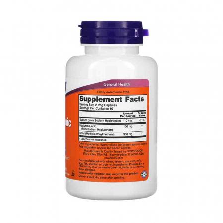 Acid Hialuronic, Hyaluronic Acid cu MSM, 50mg, Now Foods2
