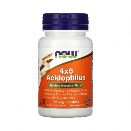 Acidophilus 4x6 (Probiotice), Now Foods, 60 capsule0