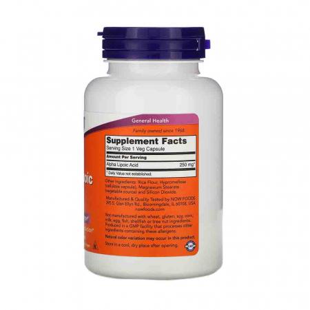 Alpha Lipoic Acid ALA, 250mg, Now Foods1
