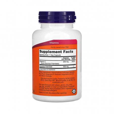 Ascorbyl Palmitate (Vit C Ascorbil Palmitat), 500mg, Now Foods, 100 capsule2