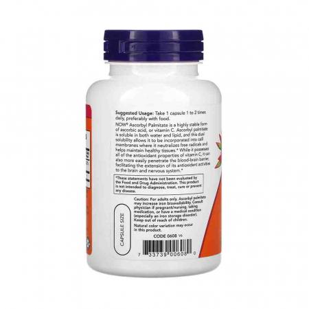 Ascorbyl Palmitate (Vit C Ascorbil Palmitat), 500mg, Now Foods, 100 capsule1