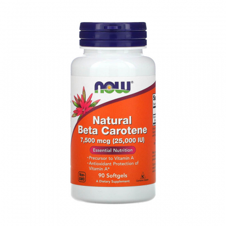 Beta Carotene Natural, 25 000 IU, Now Foods, 90 softgels0