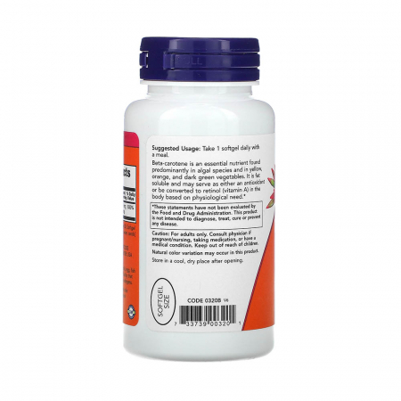 Beta Carotene Natural, 25 000 IU, Now Foods, 90 softgels1