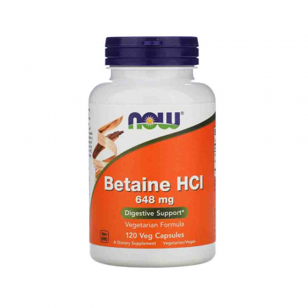Betaine HCL (Clorhidrat de Betaina), 648 mg, Now Foods, 120 capsule0