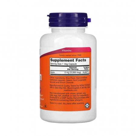Biotin (Vitamina H sau B7) 5000 mcg, Now Foods1
