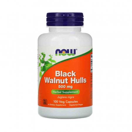 Black Walnut Hulls (Extractul dinCoajă de Nucă Neagră), 500mg, Now Foods, 100 capsule0