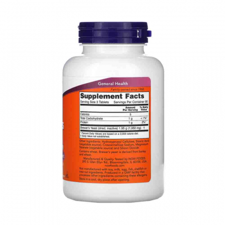 Brewer's Yeast Tablets (Drojdia de bere), Now Foods, 200 tablets2