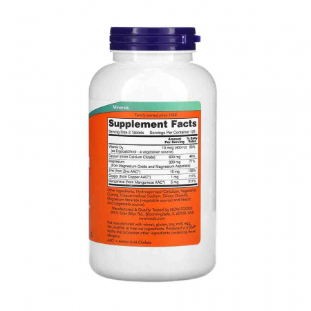 Calciu Citrat 600mg cu Minerale si Vitamina D, Now Foods2