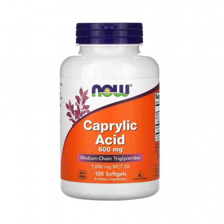 Caprylic Acid, 600mg (Acid Caprilic), Now Foods, 100 softgels0
