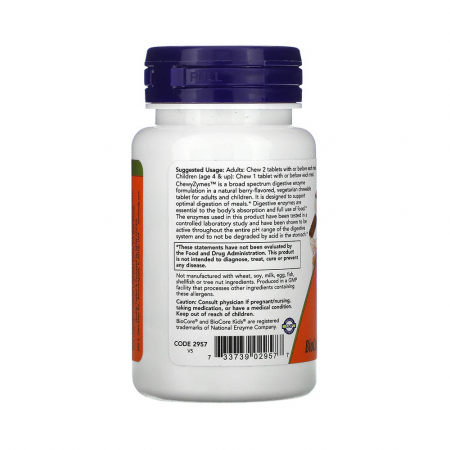 ChewyZymes, (Enzime Digestive Masticabile), Now Foods, 90 drajeuri1