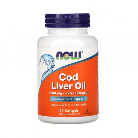 Cod Liver Oil, Extra Strength, 1000 mg, Now Foods, 90 softgels0