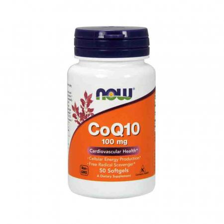 CoQ10 100mg cu vitamina E, Now Foods, 50 softgels0