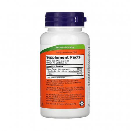 Dopa Mucuna (Dopamina), Now Foods, 90 capsule2
