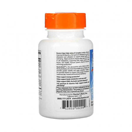 Fully Active B Complex with Quatrefolic, Doctor's Best, 30 capsule1